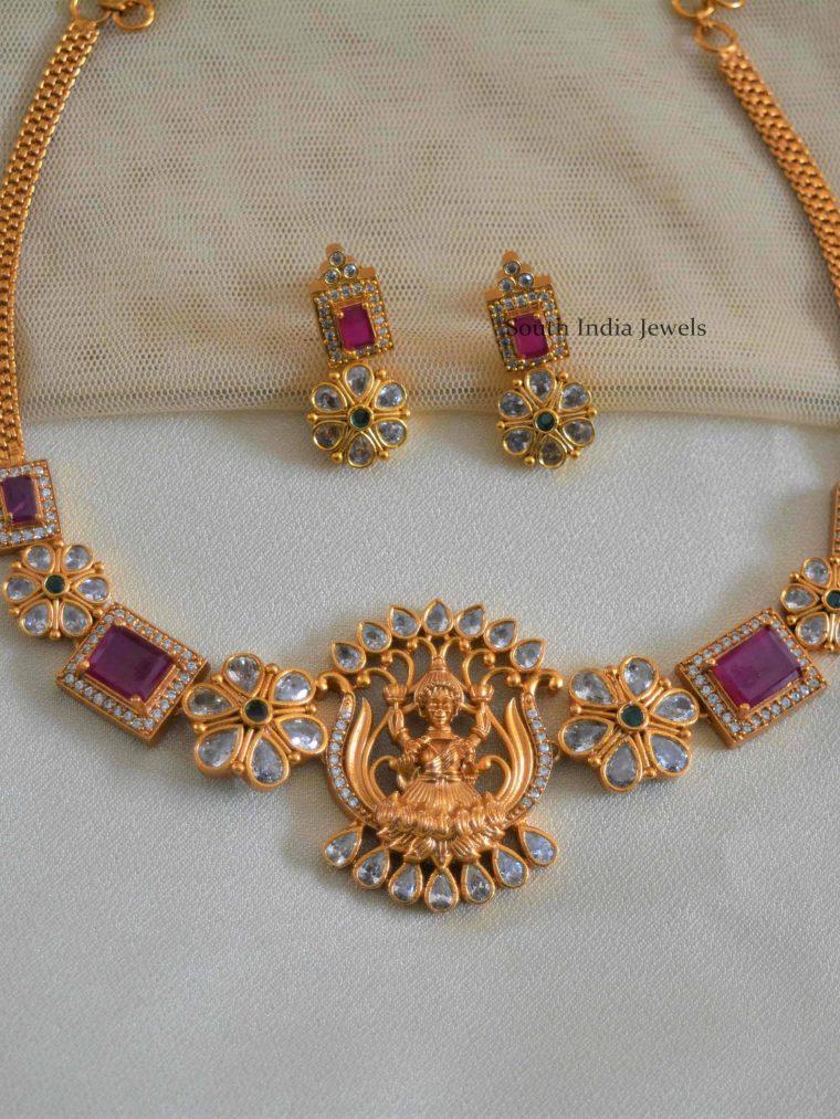 Lotus design Laxshmi Necklace