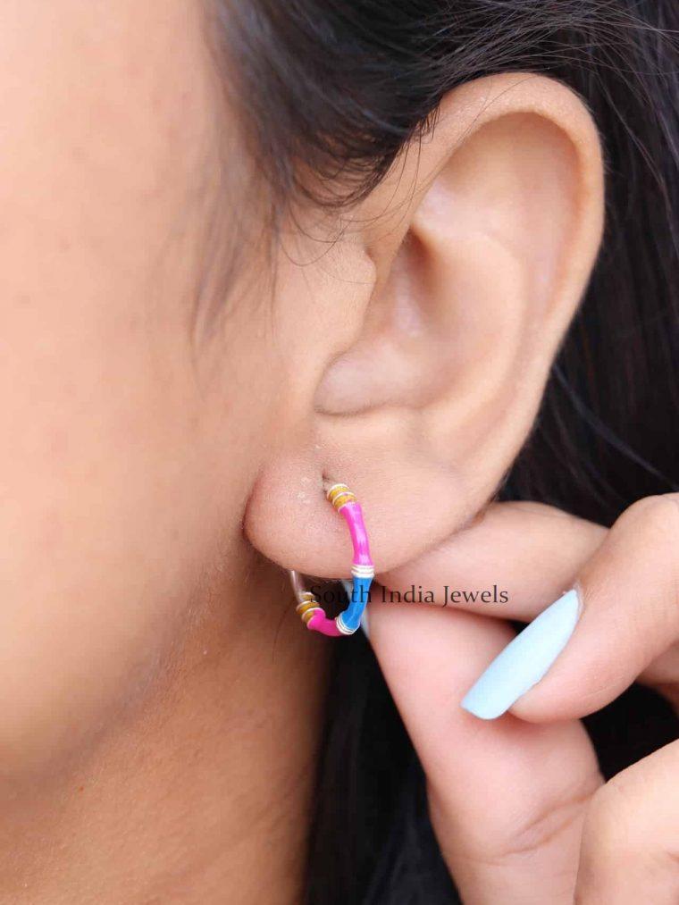Multi Color Enamel 925 Sterling Silver Bali Earrings (2)