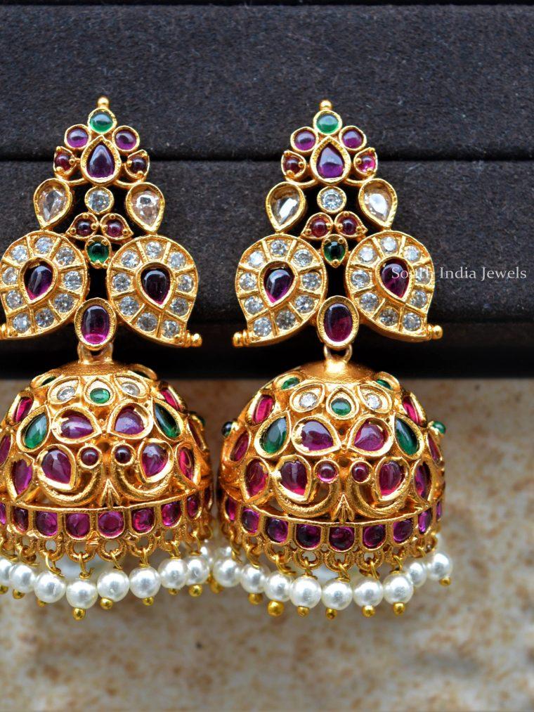 Multi Stone Gold Polish Jhumkas
