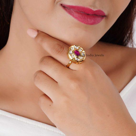 Oval Shaped Kundan Finger Ring