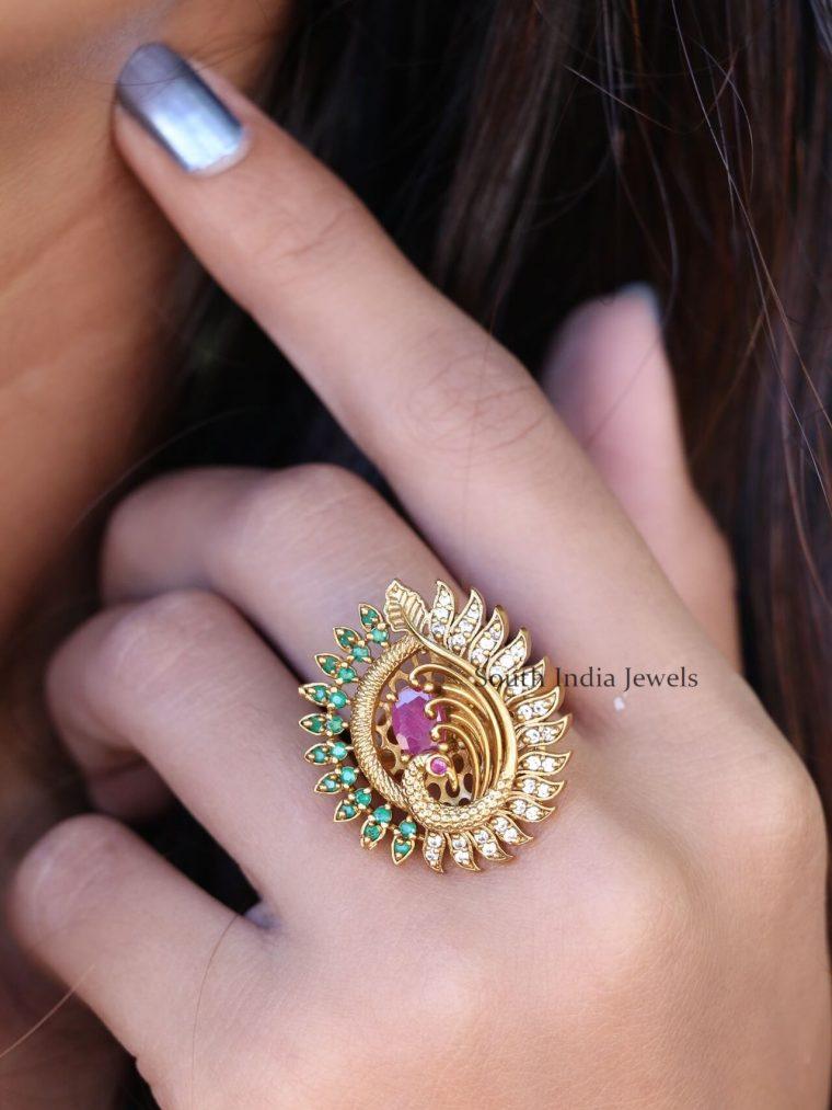 Peacock Design Adjustable Finger Ring
