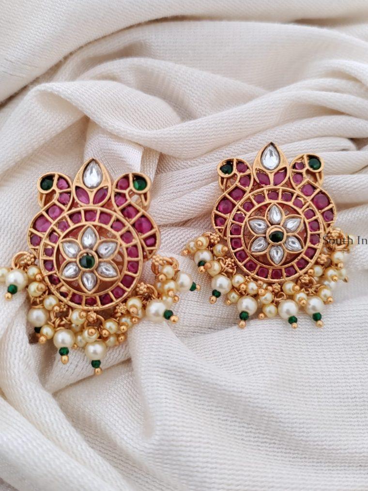 Peacock Design Kemp And Green Earrings