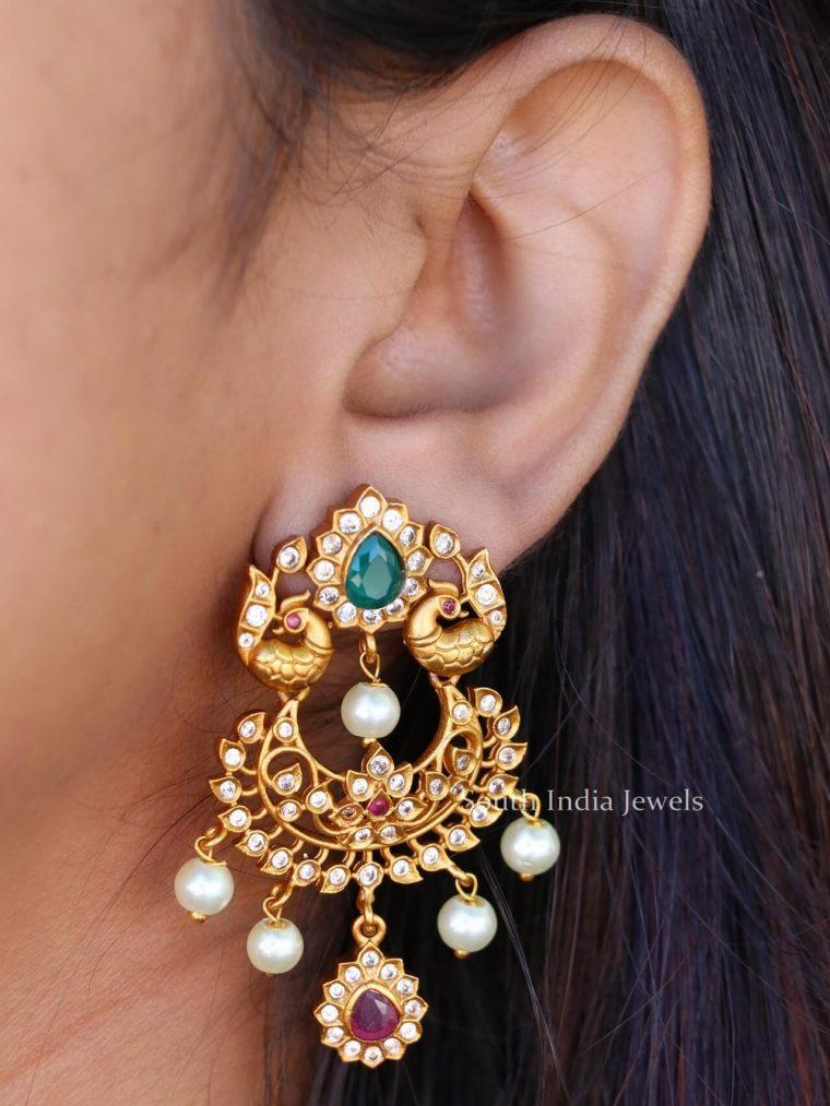 Peacock Design Matte Earrings (2)