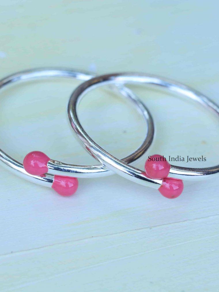 Pink Enamel Adjustable Baby Kada