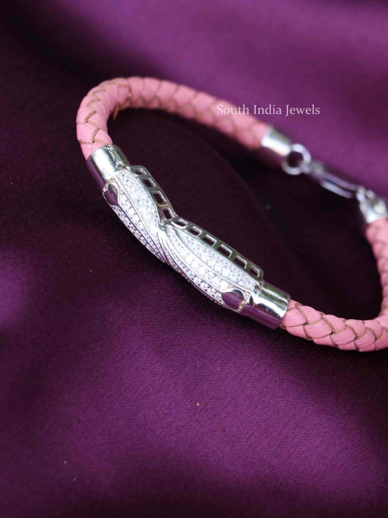 Pink Leather 925 Sterling Silver Bracelet