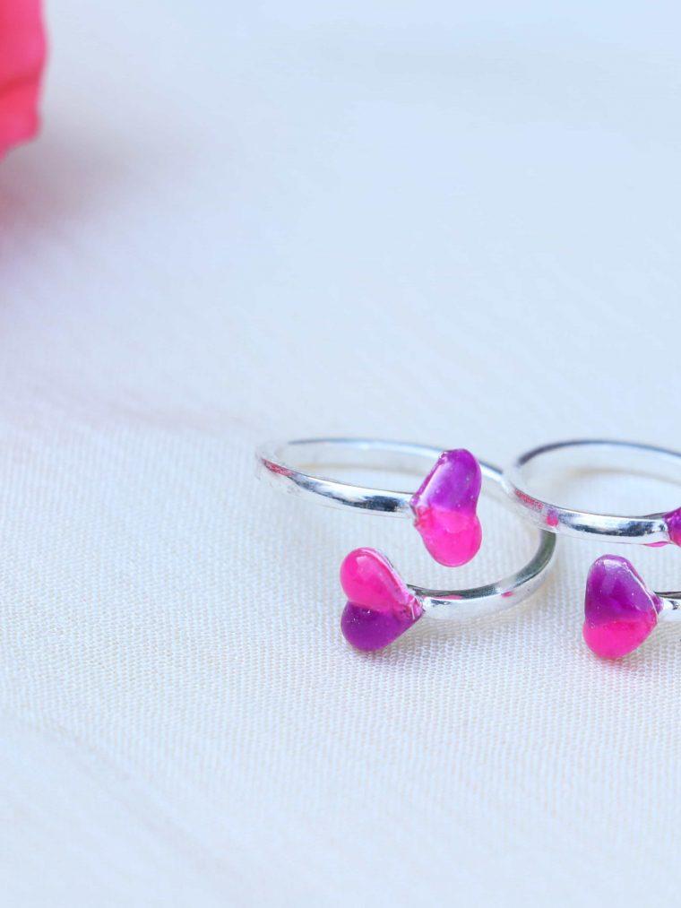 Pink & Purple Enamel Sterling Silver Toe Rings