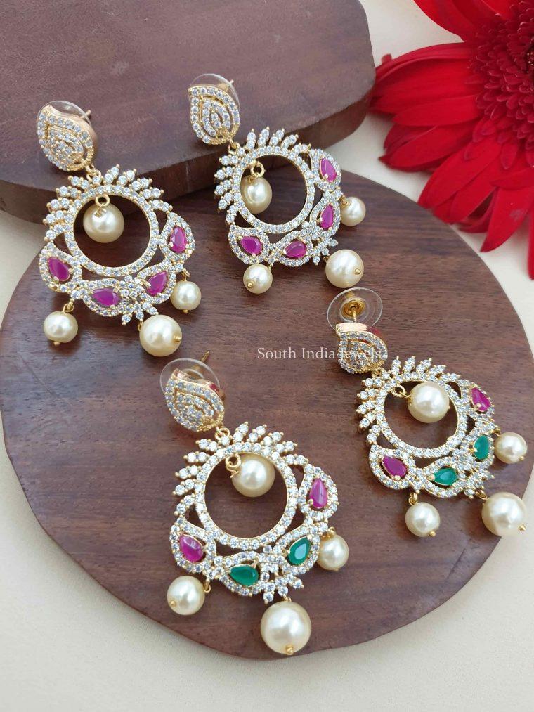 Pretty CZ Stone Chandbali Earrings (3)