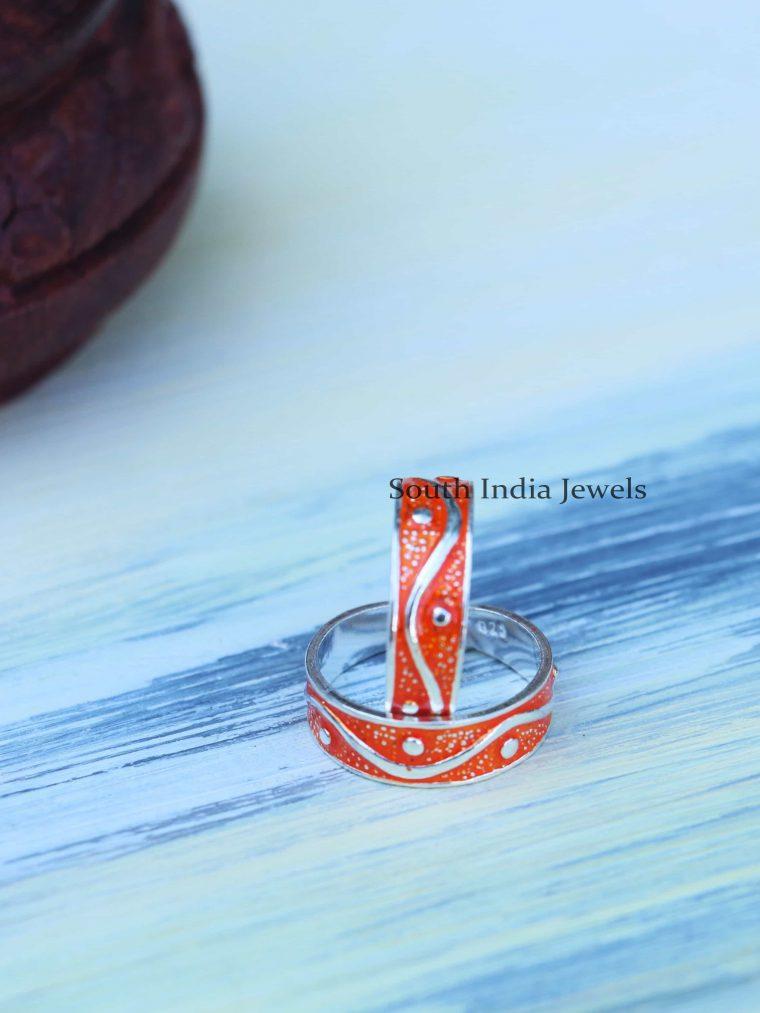 Pretty Enamel Sterling Silver Toe Rings