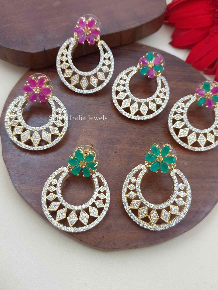 Pretty Floral Design Chandbali Earrings (3)