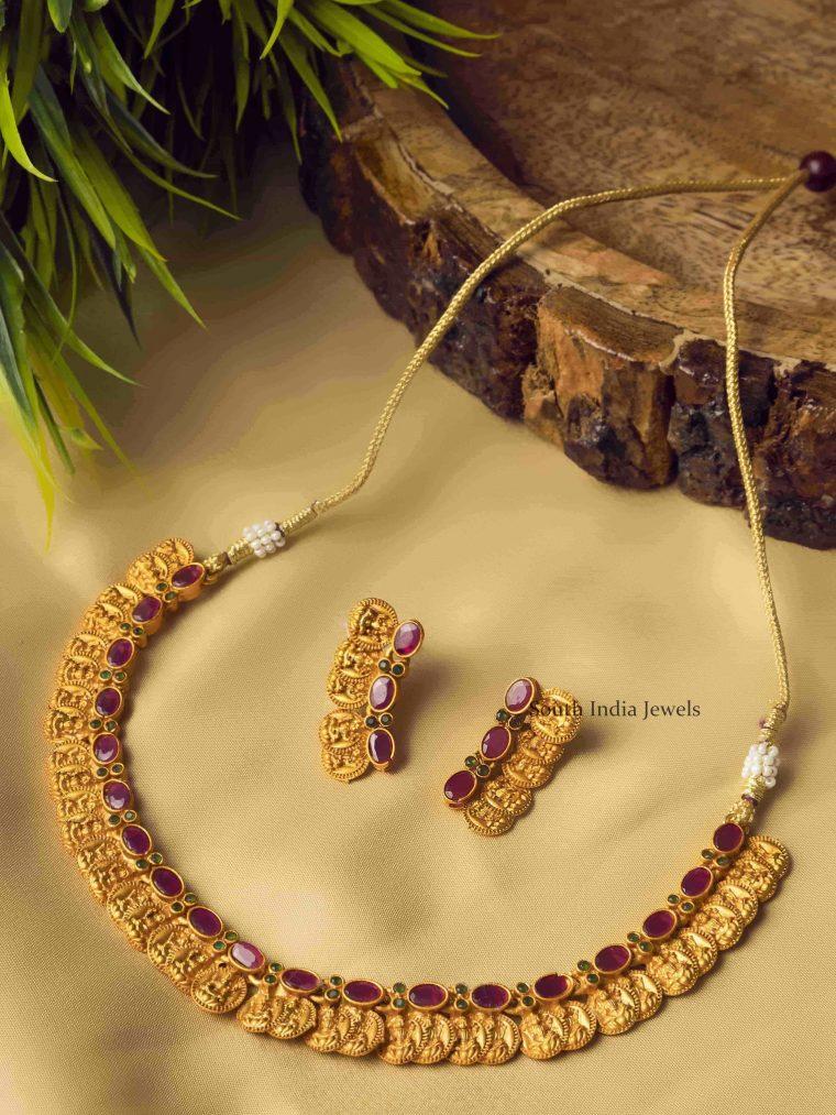 Purple Charming Laxshmi Coin Necklace Set
