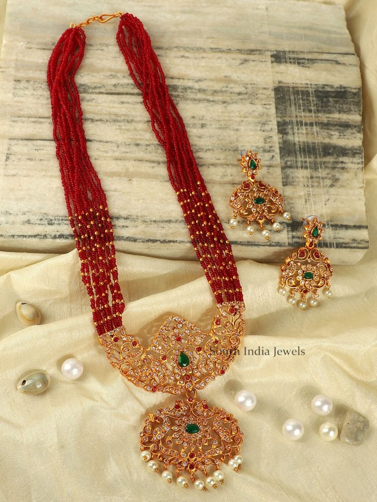 Red Beads AD Long Necklace Set