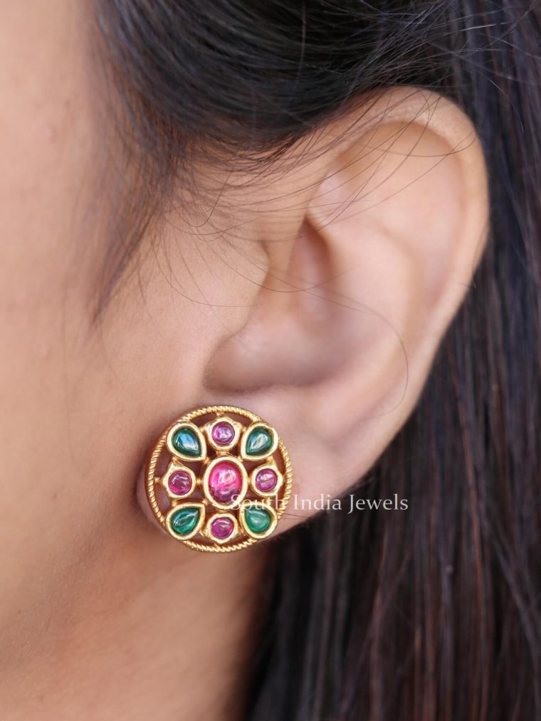 Red & Green Stones Ear Studs (2)