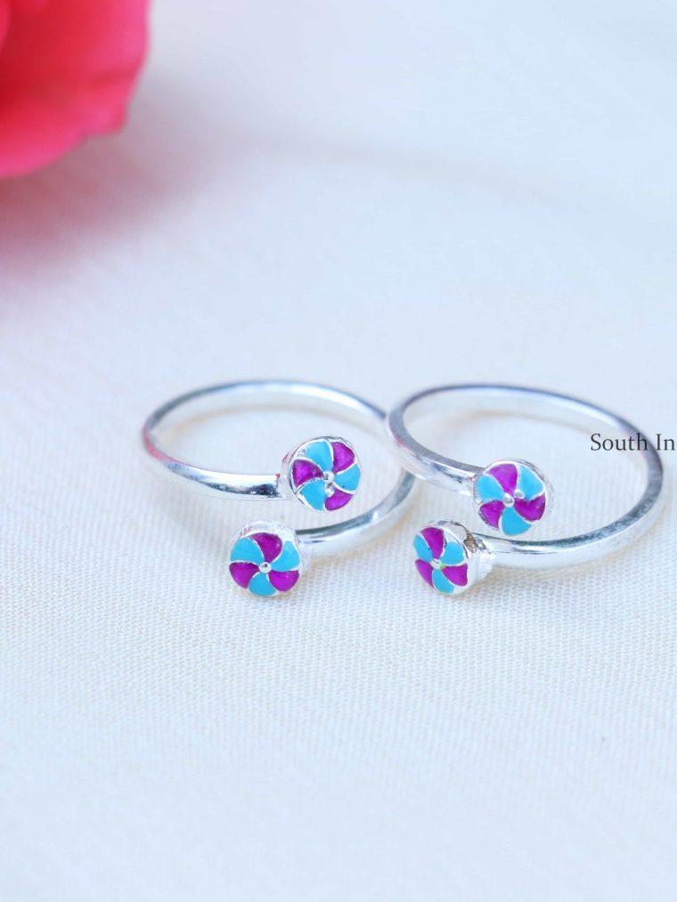Round Design Enamel Sterling Silver Toe Rings