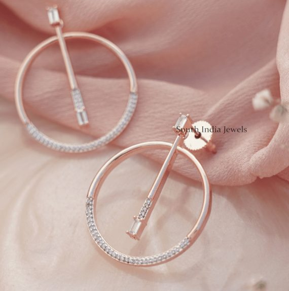 Round Ring Rose Gold Earrings
