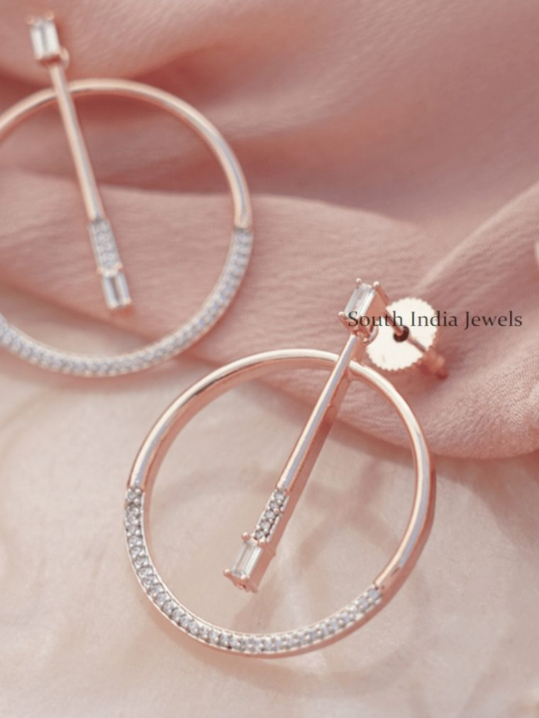 Round Ring Rose Gold Earrings -05