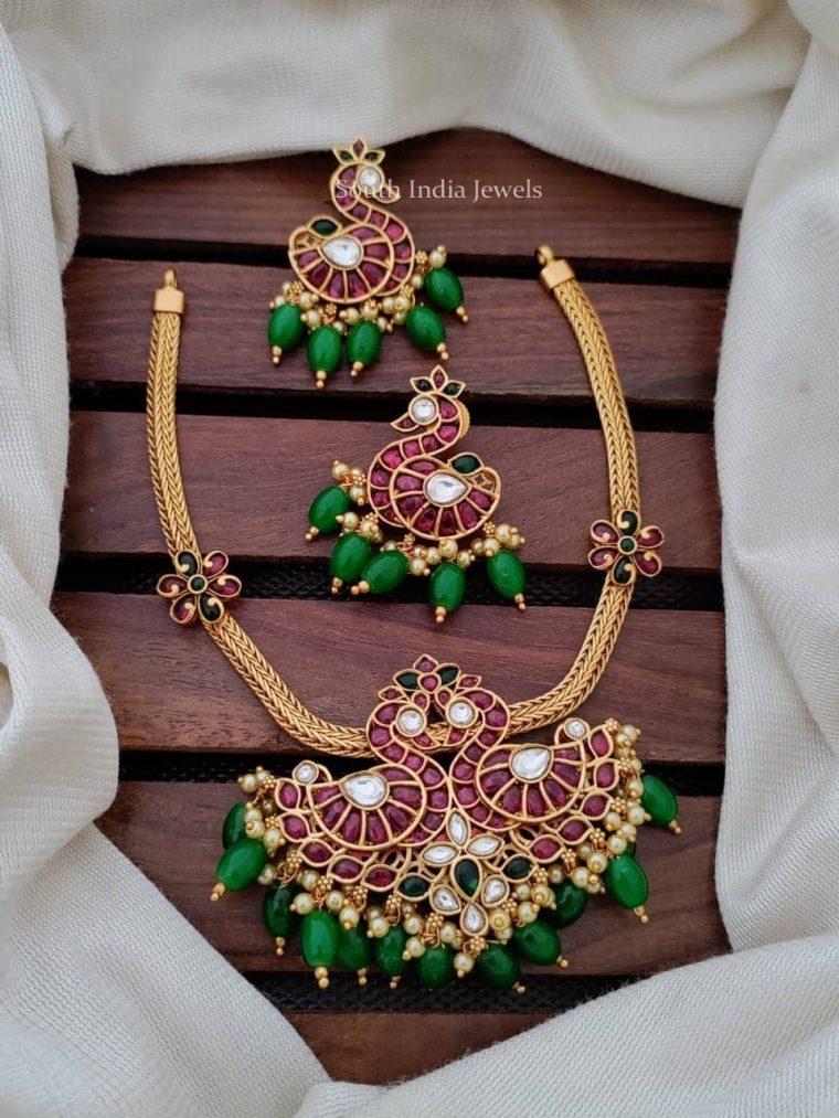Royal Dual Peacock Attigai Necklace
