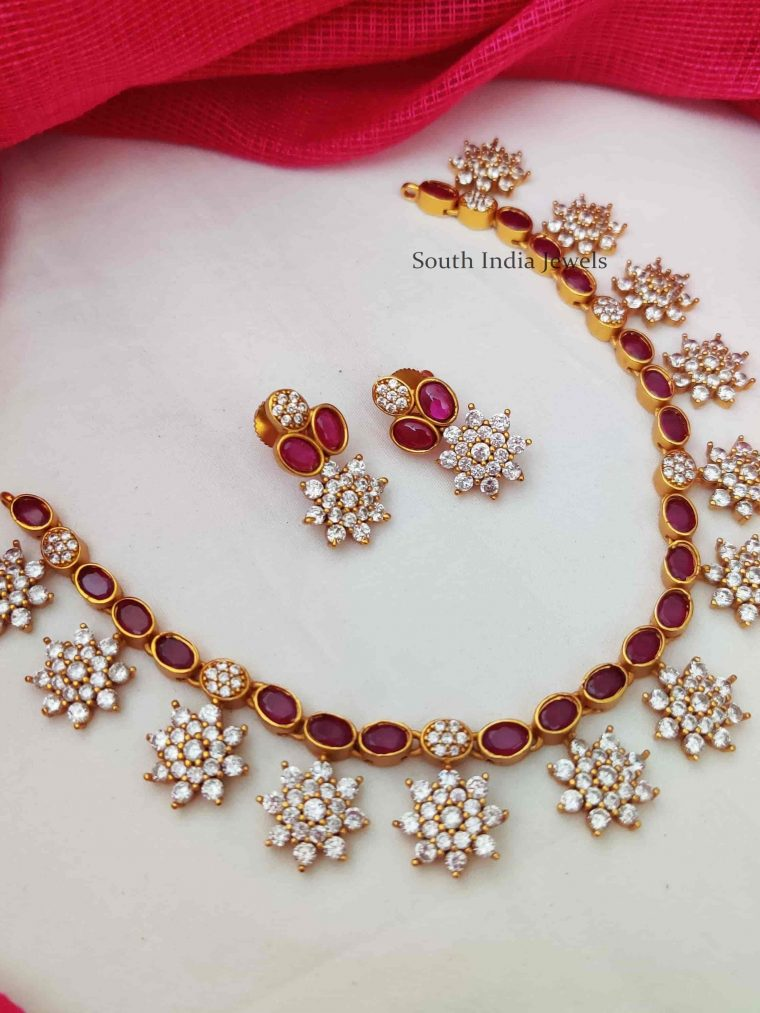 Ruby & AD Stone Floral Necklace