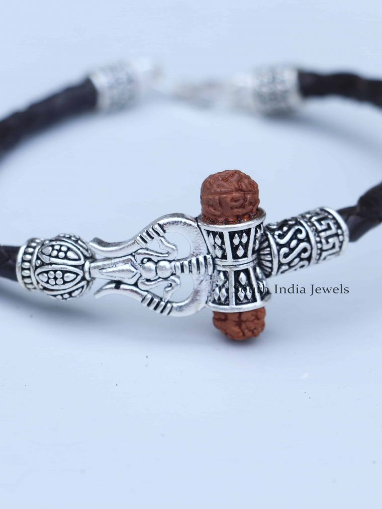 Rudraksh Om Trishul Dumroo 925 Silver Bracelet