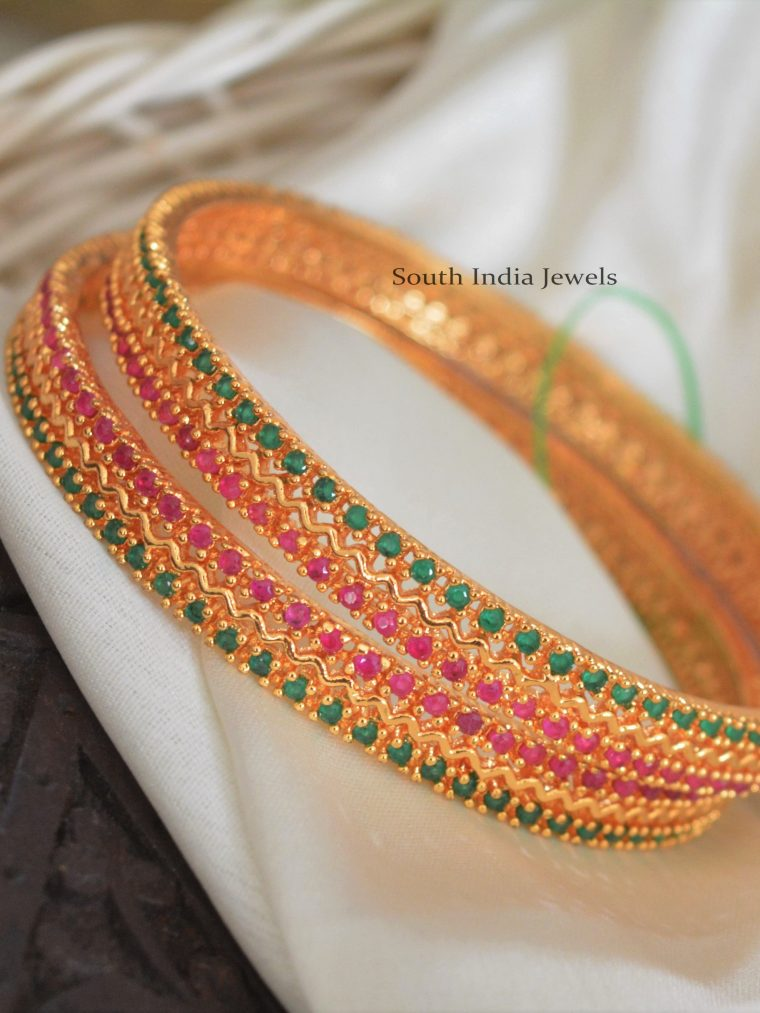 Simple Red & Green Stone Bangles