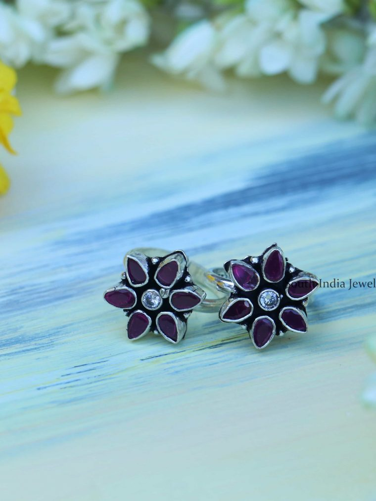 Sterling Silver Floral Toe Rings
