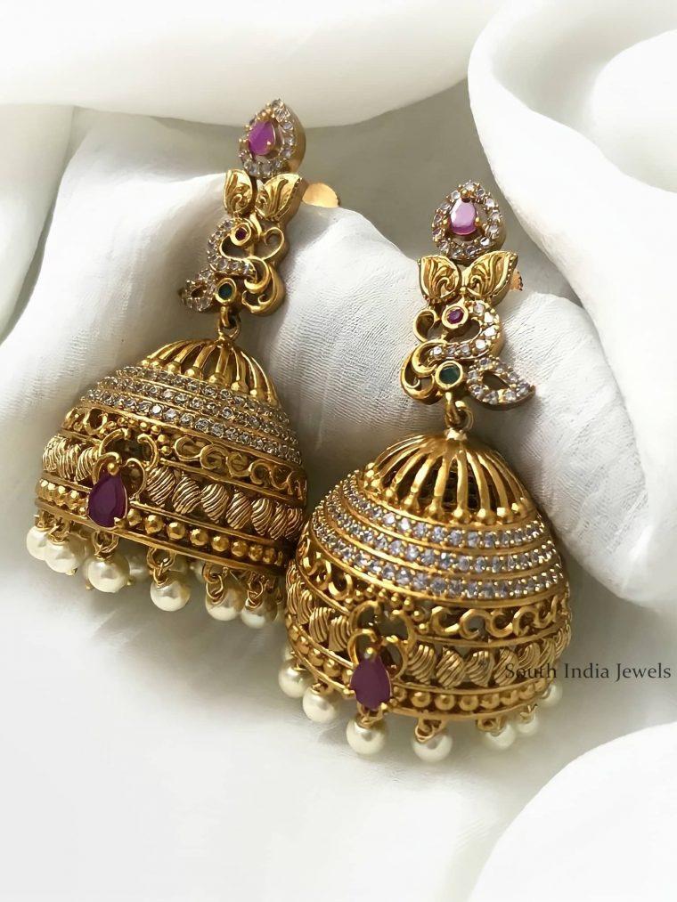 Stunning AD Stones Jhumkas