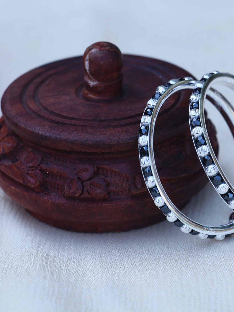 Stunning Black Beads 92.5 Sterling Silver Baby Kada