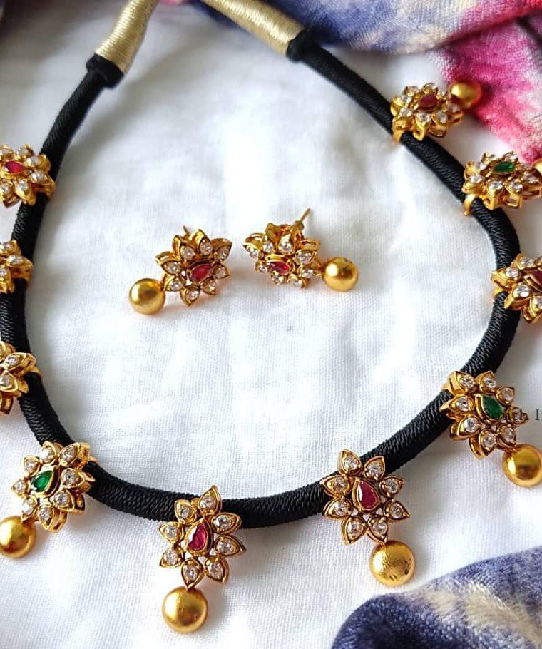 Stunning Black Thread AD Stones Necklace