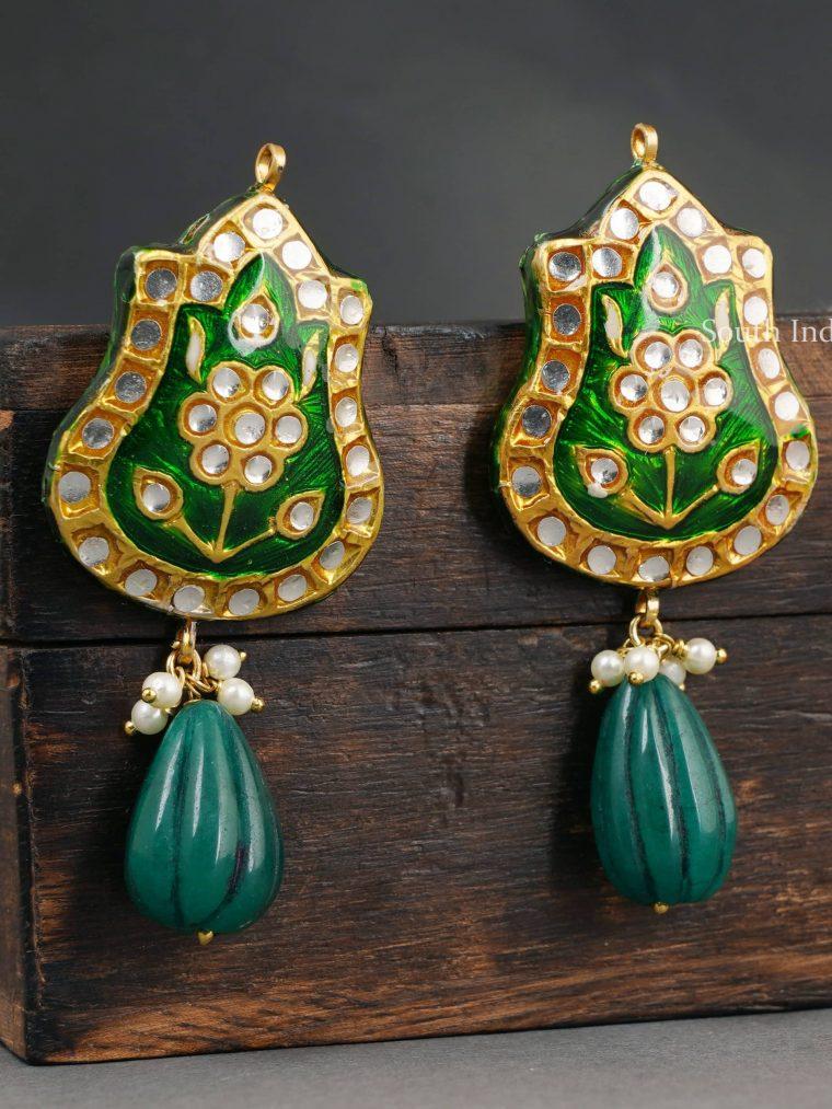 Stunning Green Enamel Drop Earrings