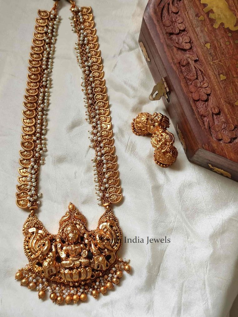 Stunning Peacock Lakshmi Designer Pearls Haram