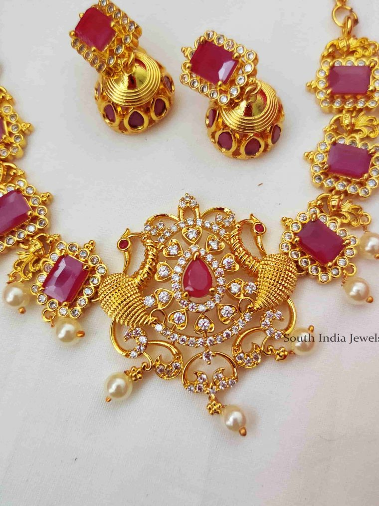 Stunning Peacock Pink Stone Necklace (2)