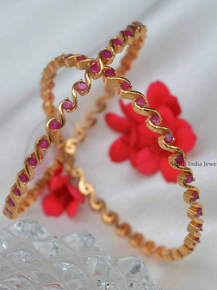 Stunning Ruby AD Stones Bangles