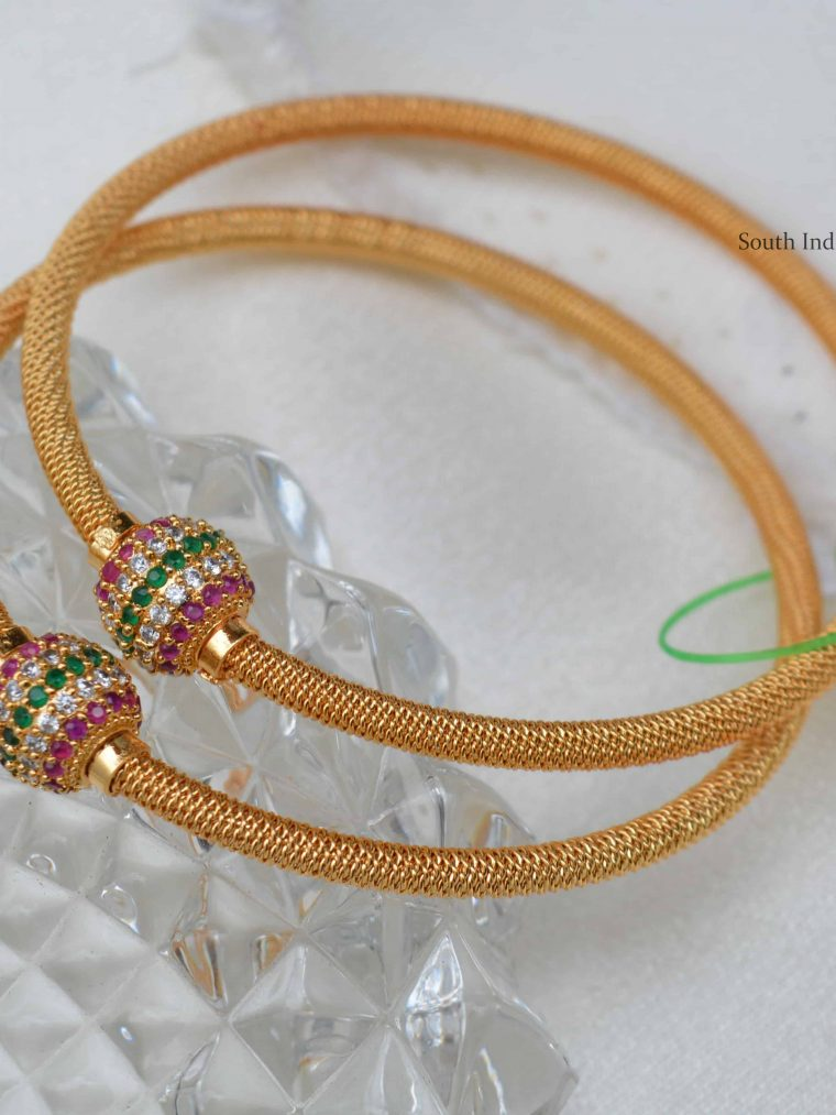 Stunning Ruby Emerald Ball Design Bangles