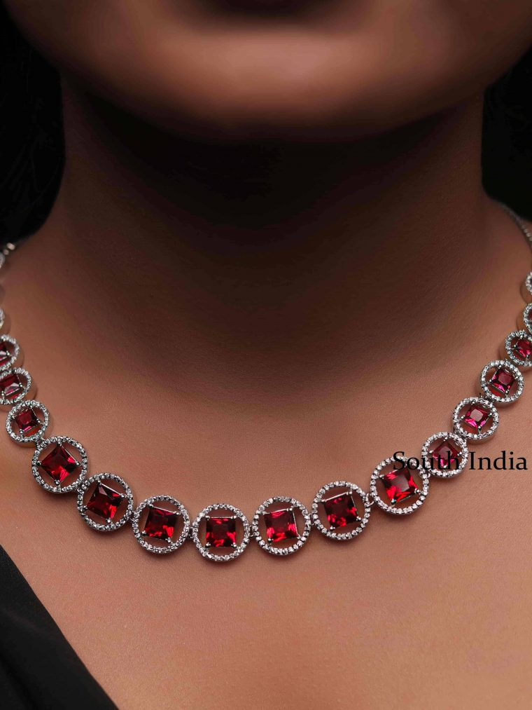 Stunning Ruby White Stones Necklace (4)