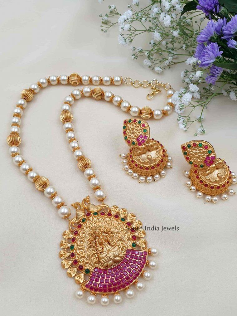 Temple Design Lakshmi Pearl Necklace