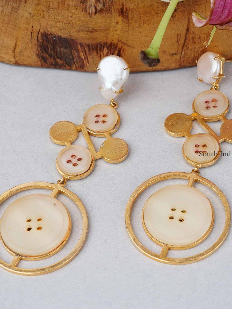 Trendy Designer Button Earrings