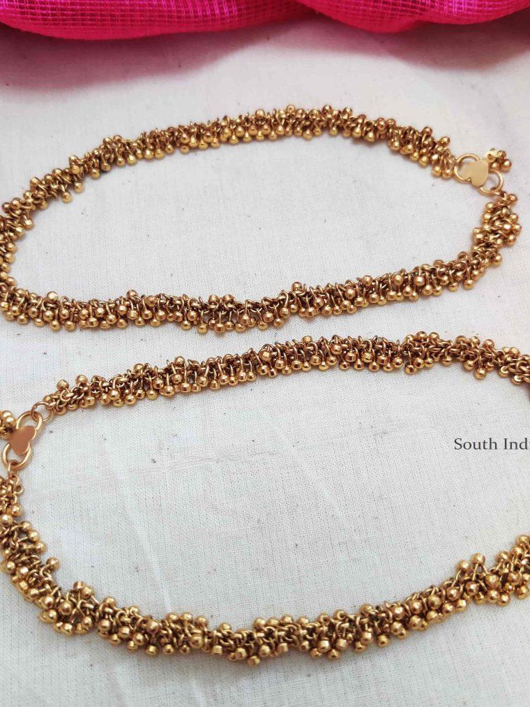 Trendy Golden Beads Anklets