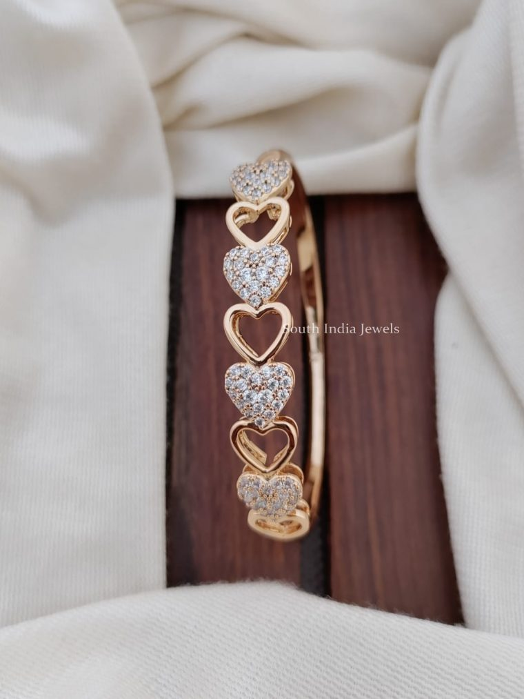 Unique Heart Design CZ Stone Bracelet