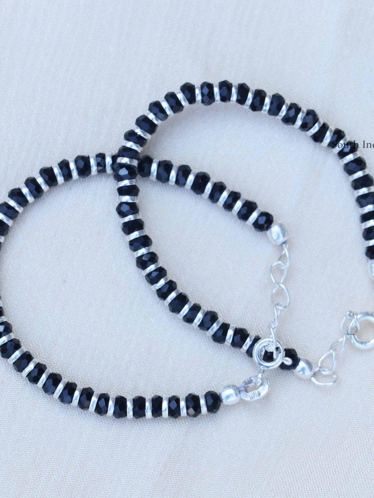 Unique Black Beads 92.5 Sterling Silver Baby Bracelet