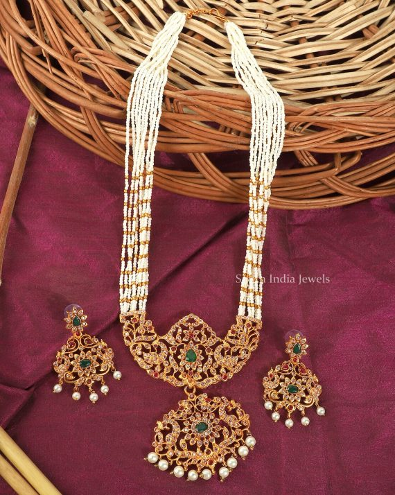 White Beads AD Long Necklace Set
