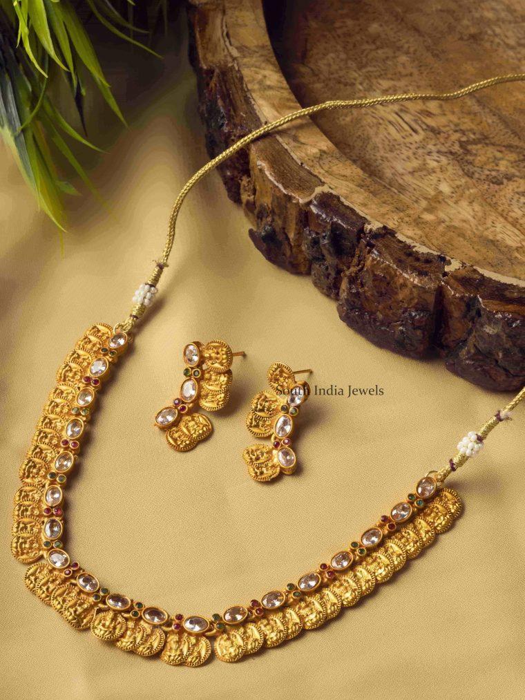 White Charming Laxshmi Coin Necklace Set