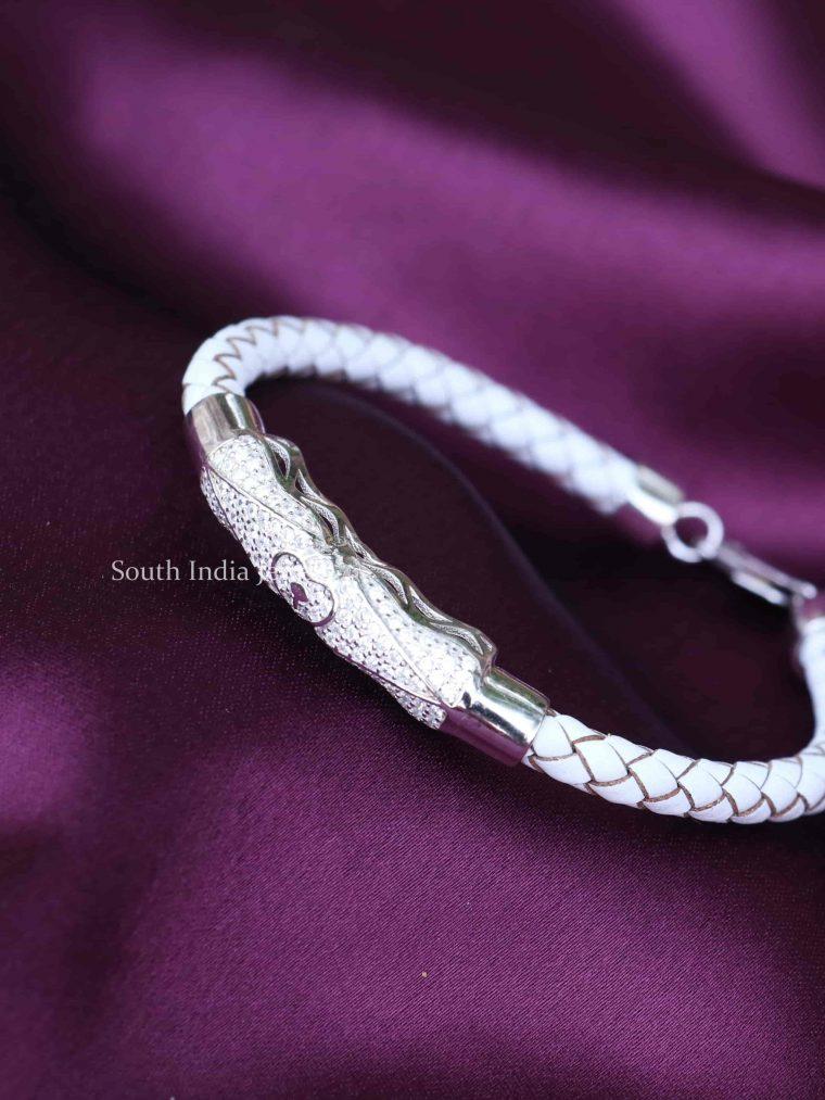 White Leather 925 Sterling Silver Bracelet