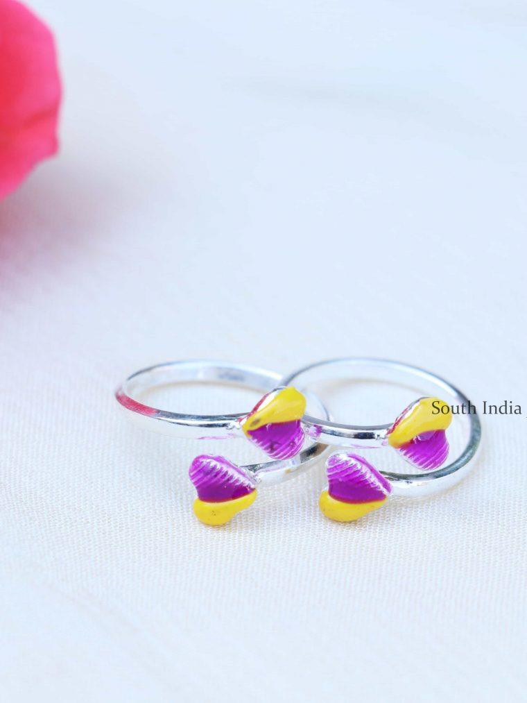 Yellow & Purple Enamel Sterling Silver Toe Rings