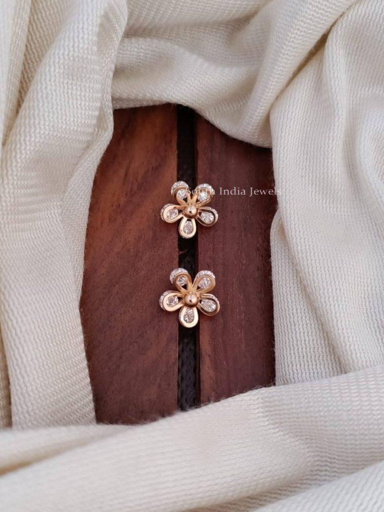 pretty floral cz stone earring