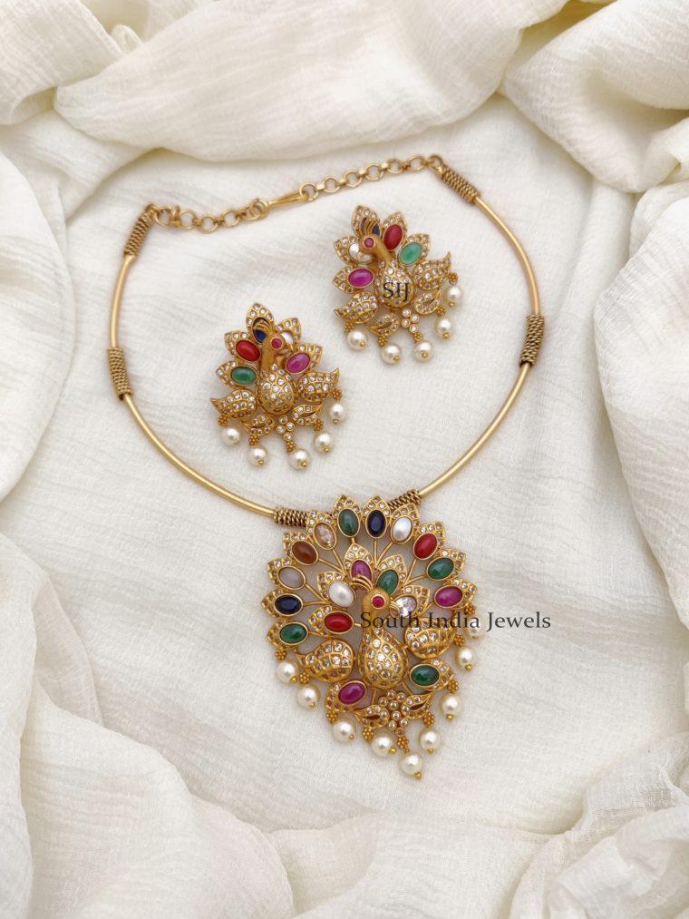 Fabulous Navarathna Peacock Necklace