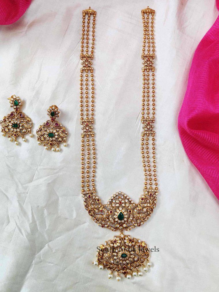 Three Layer Golden Beads AD Stone Haram Set