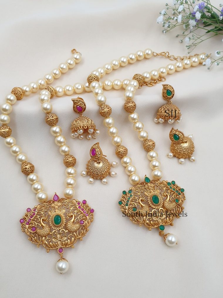 Amazing Peacock Design Pearls Necklace