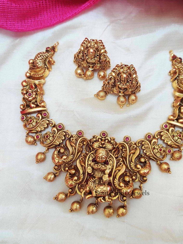 Antique Golden Beads Lakshmi Necklace