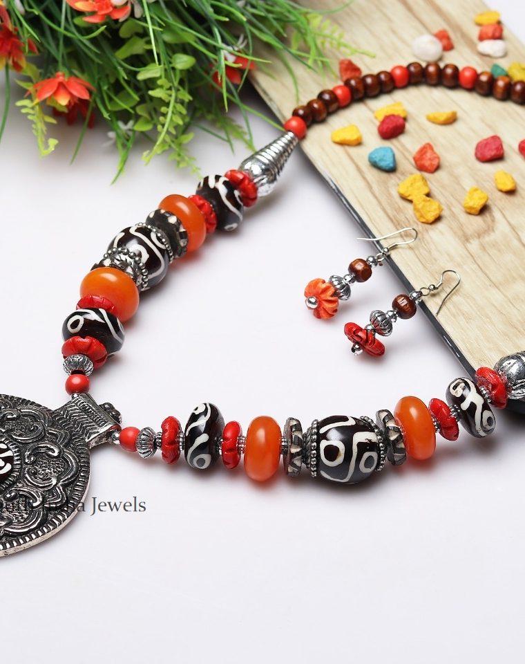 Antique Tribe Style Pendant Necklace Mala