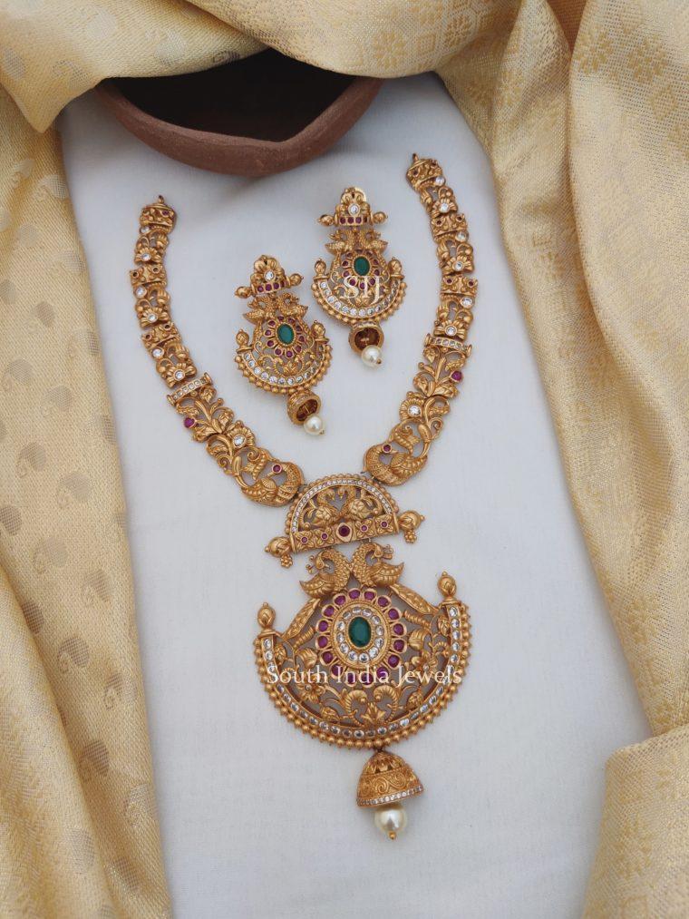 Attractive Peacock Floral Design Necklace