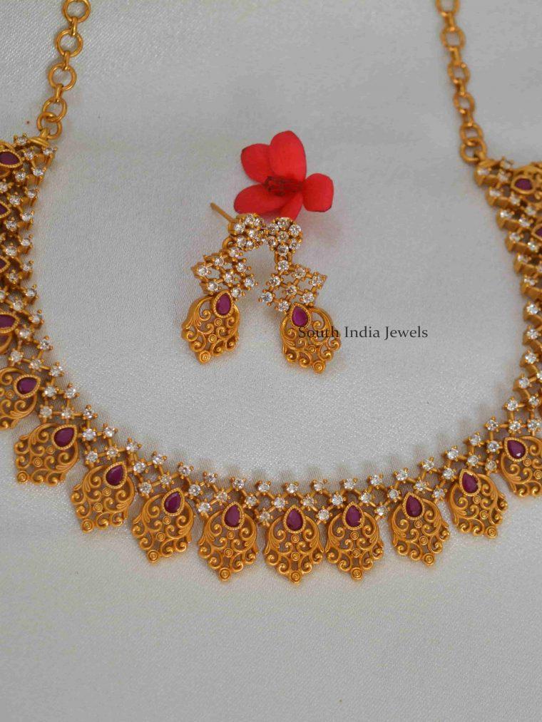 Attractive Ruby AD Stones Floral Necklace